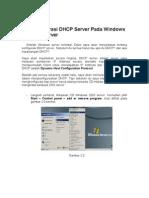 Konfigurasi DHCP Server Pada Windows 2003 Server