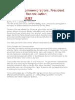 Sri Lanka Commemorations, President Sirisena and Reconciliation