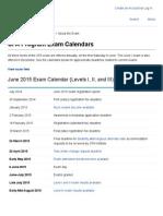 CFA Program Exam Calendars
