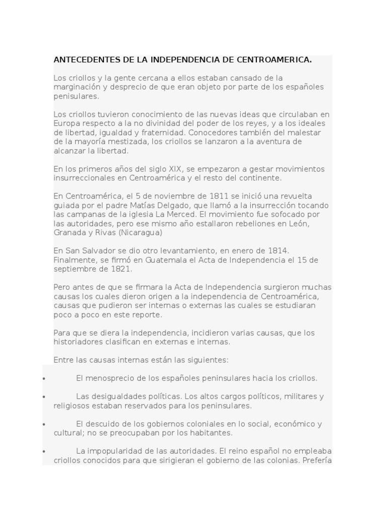Causas de La Independencia de Centroamerica.