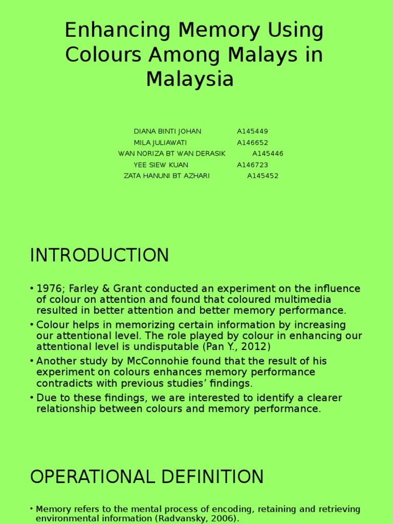 Introduction Colours And Memory Recall Memory Memory