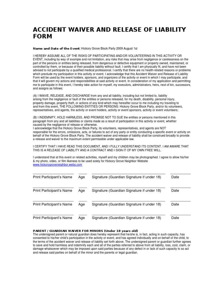 Accident Waiver And Release Of Liability Form | Indemnity | Negligence