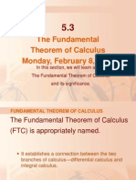 The Fundamental Theorem of Calculus Monday, February