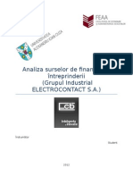 Analiza Surselor de Finantare a Intreprinderii Electocontact
