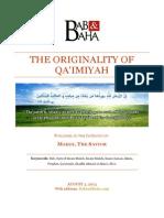 The Originality of Qa'imiyah