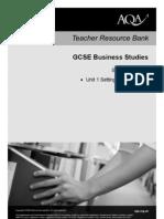 AQA GCSE Unit 1 Scheme of Work Business Studies