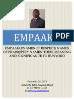 Empaako-names of Praise- Names of Respect-pety Names