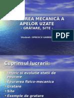 Epurarea Mecanică a Apelor Uzate - Gratare, Site