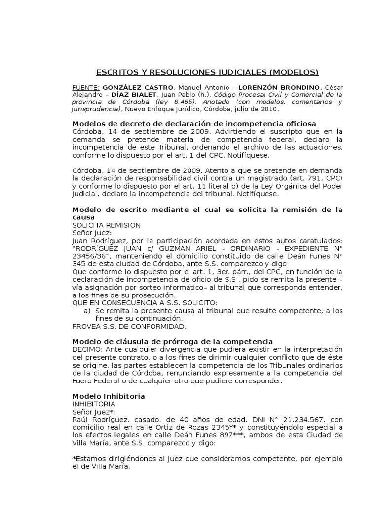 Escritos, Oficios y Resoluciones Judiciales (Modelos Para Procesal ...