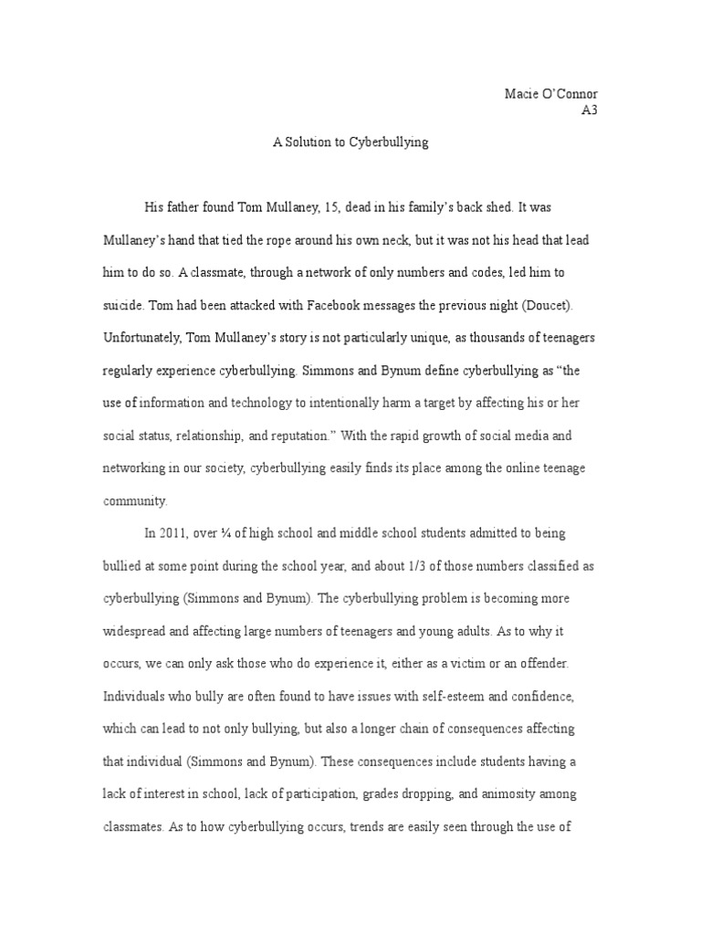 essay example outlne on cyber bulying This sample essay was written to highlight the social media bullying research outline research ultius, inc sample essay on cyber bullying [infographic.