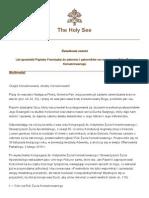 List apostolski Papieża Franciszka do zakonnic i zakonników na rozpoczęcie Roku Życia Konsekrowanego 2014