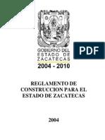 REGLAMENTO DE CONSTRUCCIONES DEL ESTADO DE ZACATECAS