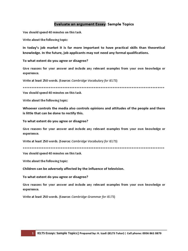 05 Evaluate an Argument Essay (Sample Topics)   Essays   Test ...