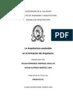 La Arquitectura Sostenible en La Formacion Del Arquitecto.