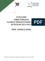 Instrument de Evaluare Limba Engleza Pentru Clasa Pregatitoare.daniela Buda