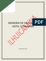 Memoria Estructural de Hotel Citlalmina (Flechadora Del Cielo)