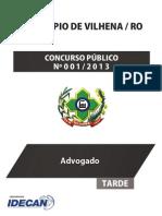 Prefeitura de Vilhena/RO - Prova - Superior - Advogado