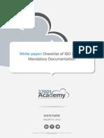 Checklist of ISO 22301 Mandatory Documentation En