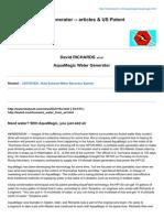 AquaMagic Water Generator -- Articles Amp US Patent