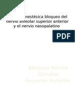 Bloqueo Nervio Alveolar Superior Anterior