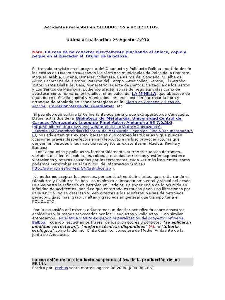 Accidentes en Oleoductos