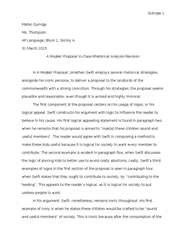 A Modest Proposal Analysis Essay