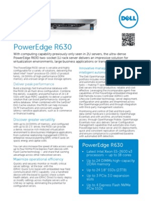 Dell Poweredge r630 Specsheet | Solid State Drive | Dell