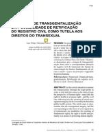 A Cirurgia de Transgenitalização e a Possibilidade de Retificação Do Registro Civil Como Tutela Aos Direitos Do Transexual