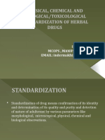 Standardization  of herbal drug  Ppt