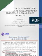 IMPACTO DE LA GESTION EN LA SEGURIDAD Y SALUD EN EL TRABAJO