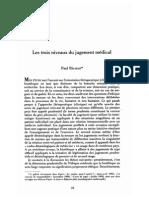 RICOEUR, Les trois niveaux du jugement médical
