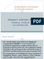 SAARC and its dependency on its nations' exports imports and trade openness