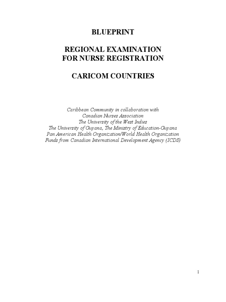 Blueprint regional examination for nurse registration caricom blueprint regional examination for nurse registration caricom nursing health care malvernweather Choice Image