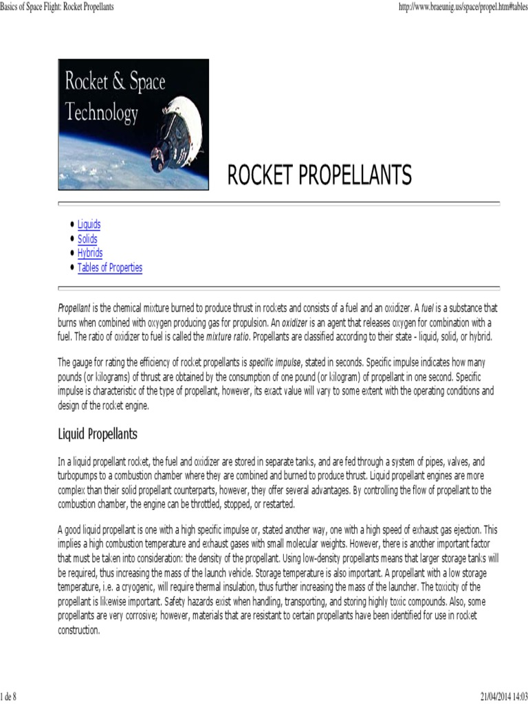 Basics of Space Flight_ Rocket Propellants | Rocket