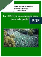 SEGUNDA DECLARACIÓN FORO DE SEVILLA - LOMCE UNA AMENAZA A LA EDUCACIÓN PÚBLICA