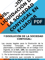 Disolución y Liquidación de La Sociedad Conyugal en El Ecuador