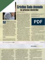 "Nota de Proceso ""Cristina Sada desnuda procesos electorales""."