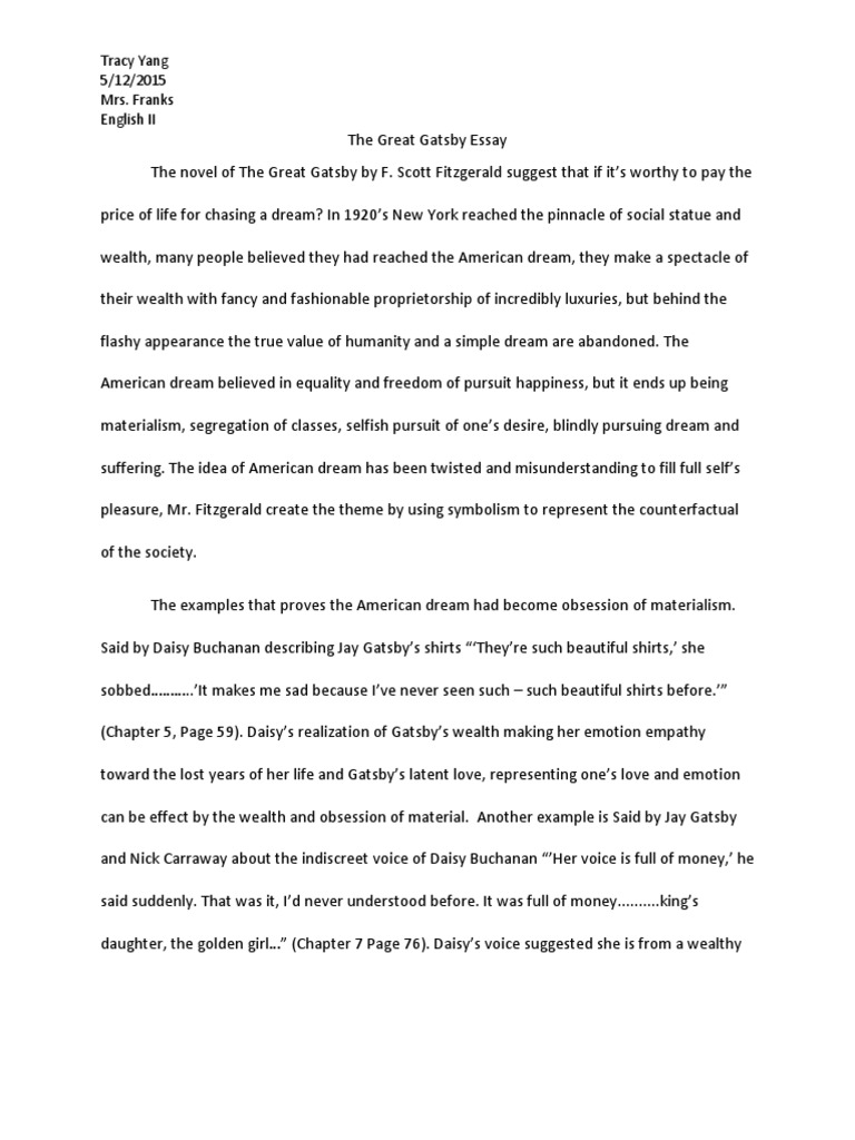 The Great Gatsby Essay The Great Gatsby American Dream