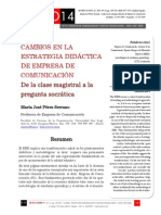Icono14. Nº14. Cambios en la estrategia didáctica de Empresa de Comunicación. De la clase magistral a la pregunta socrática
