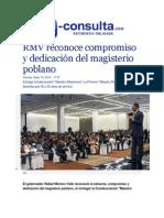 15-05-2015 E-consulta.com - RMV Reconoce Compromiso y Dedicación Del Magisterio Poblano