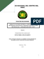 IMPACTO SOCIOECONÓMICO Y PRODUCTIVO DEL PROGRAMA JUNTOS EN LA REGIÓN AGROPECUARIA DE TAYACAJA – ACRAQUIA EN 2010 - 2013