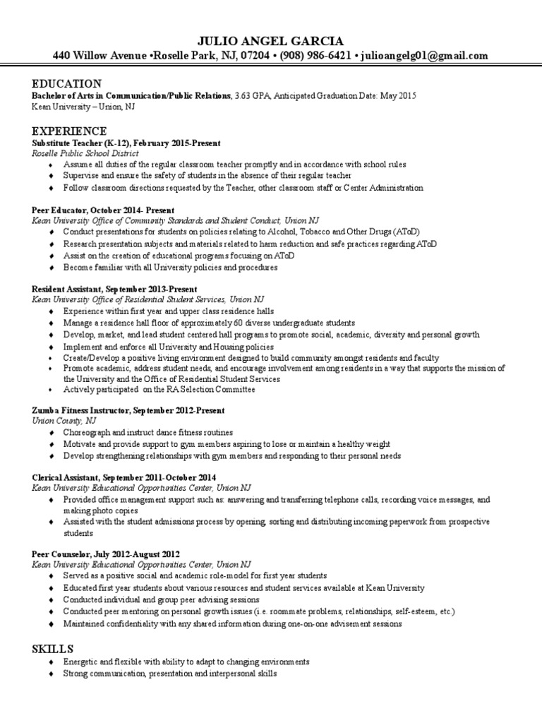 Resume | Teachers | Cognition