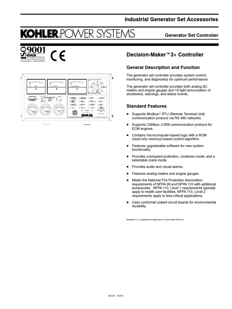 Kohler Decision Maker Manual Engine 6 4 Cz Electrical Diagram Gm64497 Replacement Array 3 Specs Relay Battery Charger Rh Es Scribd