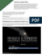 Instalación de Kali Linux en Un Disco Duro