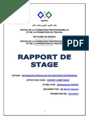 Rapport De Stage Chez Un Fiduciaire Ofppt Salaires