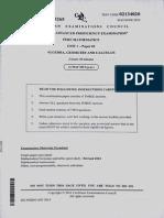 Cape Pure Mathematics 2015 Unit 1 Past Paper