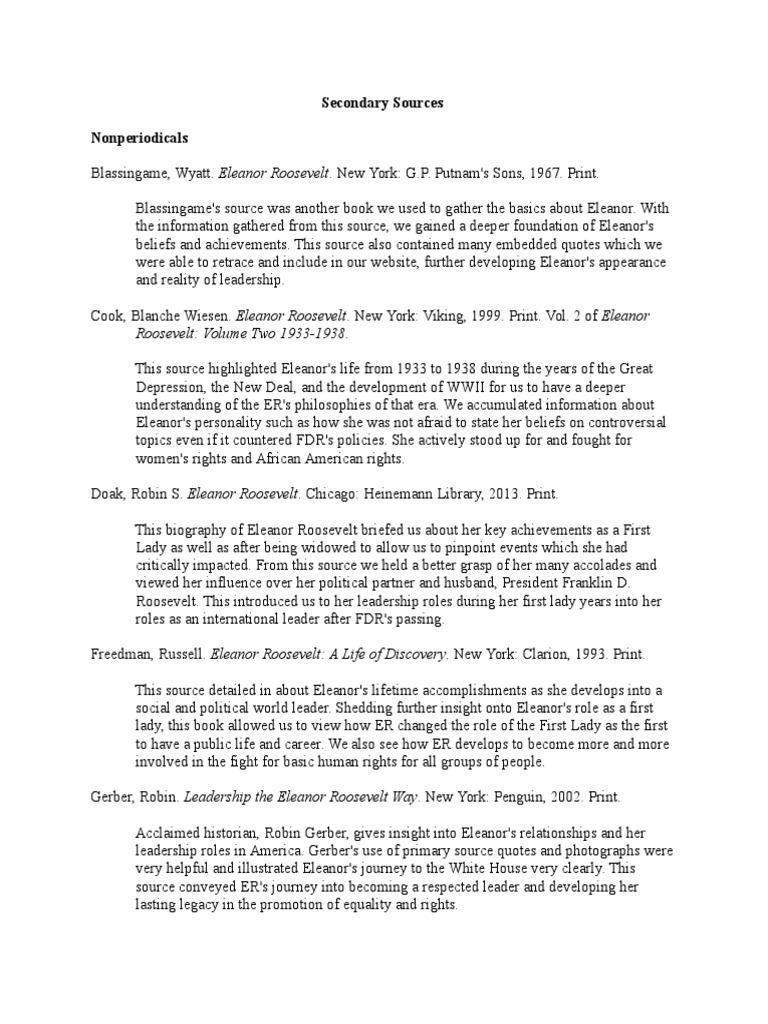 Secondary Sources | Eleanor Roosevelt | Franklin D. Roosevelt