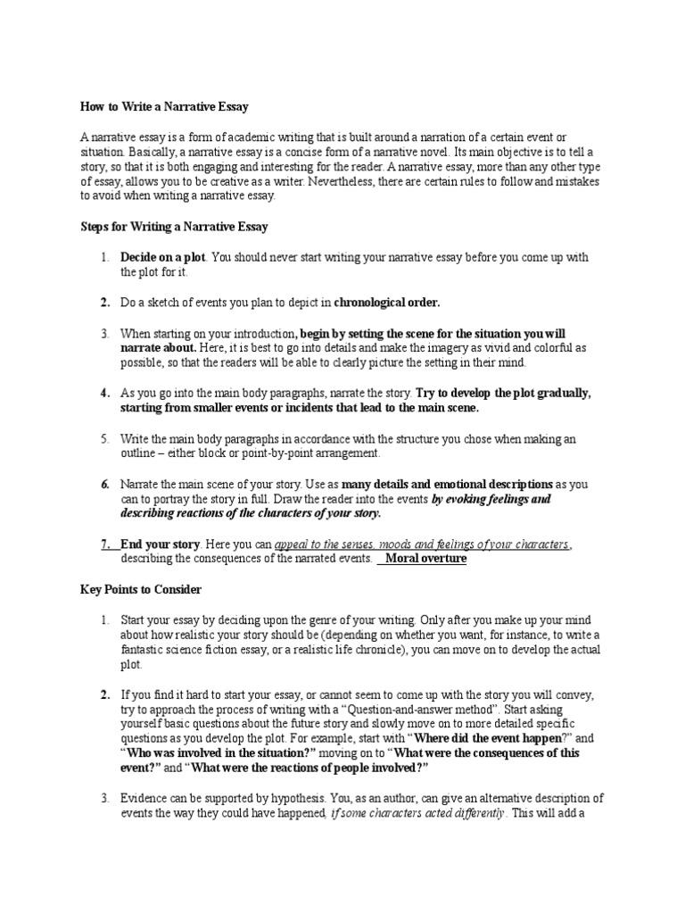 How To Write A Narrative Essay  Essays  Plot (Narrative)