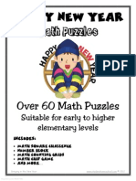 100 New Year Themed Math Puzzles Gr1-4