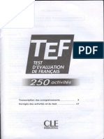 Answers for TEF 250 Activite